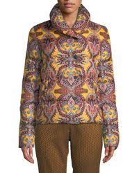 Etro - Paisley-print Snap-front Short Puffer Jacket - Lyst