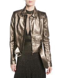 Elie Saab - Metallic Leather Moto Jacket - Lyst