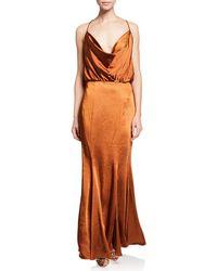 Fame & Partners - The Theodora Sleeveless Cowl-neck Satin Slip Gown - Lyst
