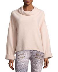 Varley - Whittier Cowl-neck Rib-knit Sweatshirt - Lyst