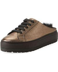 Brunello Cucinelli - Fur-lined Metallic Leather Slide Sneakers - Lyst