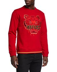 KENZO - Men's Tiger-embroidered Classic-fit Sweatshirt - Lyst