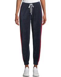 Kendall + Kylie - Drawstring Side-stripe Velour Track Pants - Lyst