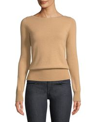 Neiman Marcus - Long-sleeve Cashmere Boat-neck Sweater - Lyst