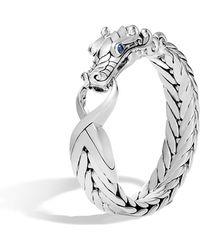 John Hardy - Men's Legends Naga Silver Bracelet With Blue Sapphire Eyes (16x6mm) - Lyst
