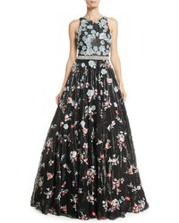Jovani - Sequin & Floral Embroidered Ball Gown - Lyst