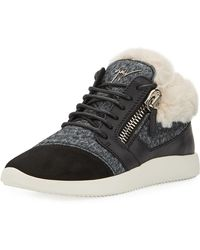Giuseppe Zanotti - Faux-fur High-top Trainer Sneakers - Lyst