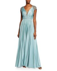 84f83a93aa Catherine Deane - Mary V-neck Cap-sleeve Pleated Jersey Gown W  Beaded