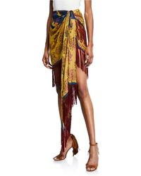 Oscar de la Renta - Silk Scarf Wrap Skirt - Lyst