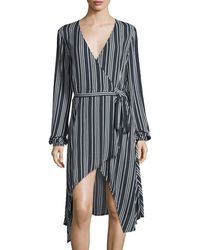 Finders Keepers | Ira Striped Wrap Dress | Lyst