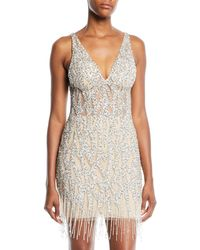 Jovani - Beaded Mini Cocktail Dress W/ Fringe Hem - Lyst
