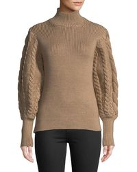 Caroline Constas - Turtleneck Chunky Cable-knit Sweater - Lyst
