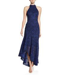Shoshanna - Grazie Floral-lace Halter-neck High-low Dress - Lyst