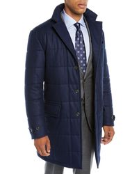 Neiman Marcus - Men's Long Water-resistant Quilted Wool Button-front Coat - Lyst