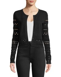 MILLY - Lace-cutout Knit Cardigan - Lyst