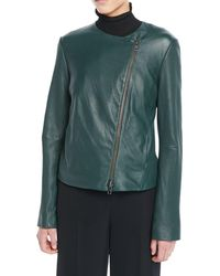 Vince - Cross-front Leather Moto Jacket - Lyst