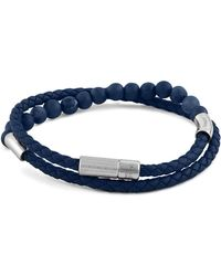 Tateossian - Men's Beaded Leather Wrap Bracelet Blue - Lyst