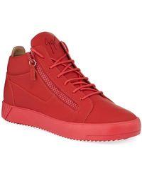 6f0bbcaf6d Giuseppe Zanotti Men's Double-strap Patent Mid-top Sneakers in ...