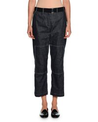 Giorgio Armani - Belted Denim Cropped Utility Pants - Lyst