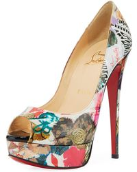 Christian Louboutin | Lady Peep Trash-print Red Sole Pump | Lyst