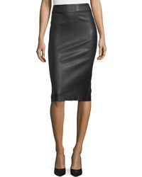 Theory | Bristol Leather Skinny Pencil Skirt | Lyst