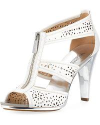 MICHAEL Michael Kors - Berkley Perforated T-strap Zip Sandal - Lyst