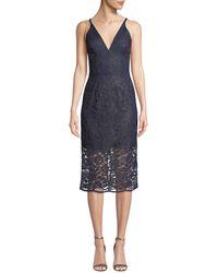 c8056acb Dress the Population - Lelani Mini-illusion Corded Lace Dress - Lyst