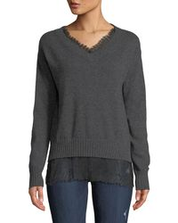 Neiman Marcus - Lace-trim Cashmere V-neck Pullover Sweater - Lyst