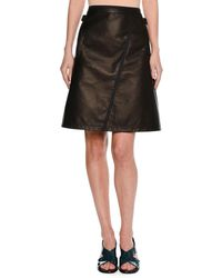 Tomas Maier - Leather A-line Miniskirt With Taping Black - Lyst