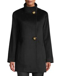 Fleurette - Funnel-neck Top Coat W/ Large Buttons - Lyst