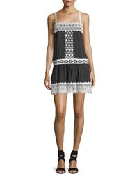 Queen & Pawn - Cotton-silk Blend Mini Dress With Lace Details - Lyst