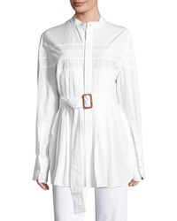 CALVIN KLEIN 205W39NYC - Kaimee Pleated Belted Blouse - Lyst