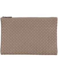 Lyst - Bottega Veneta Crocodile Elongated Knot Clutch Bag in Gray 80c86b2b42cab