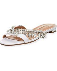 3f9138874 Lyst - Aquazzura Tropicana Tassel Flat Thong Sandal in Black