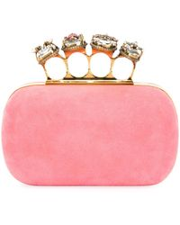 Alexander McQueen - Suede Four-ring Clutch Bag - Lyst