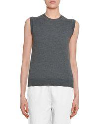 Marni - Sleeveless Wool Sweater W/ Silk Printed Back - Lyst