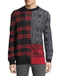 McQ - Men's Patchwork Check Crewneck Sweater - Lyst