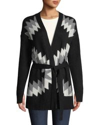 360sweater - Moxie Belted Zigzag & Skull Intarsia Wool-cashmere Cardigan - Lyst