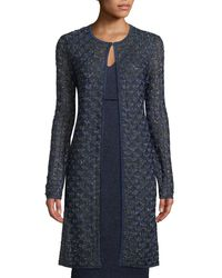 St. John - Jewel-neck Metallic Diamond-lace Jacket - Lyst