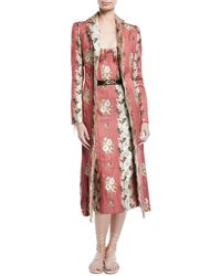 Brock Collection - Carolyn Floral-wallpaper Jacquard Belted Fitted Coat W/ Raw Edges - Lyst