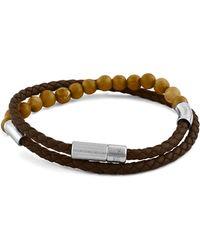 Tateossian | Men's Beaded Leather Double-wrap Bracelet | Lyst