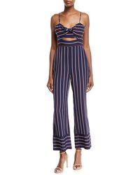 Bardot - Lulu Sleeveless Cutout Wide-leg Striped Jumpsuit - Lyst