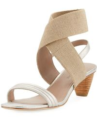 Donald J Pliner - Hira Metallic Leather Low-heel Sandal - Lyst