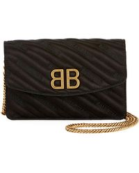 Balenciaga - Bb Quilted Wallet On Chain - Lyst