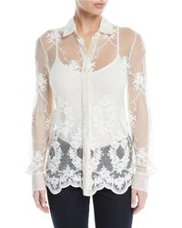 Brock Collection - Baylee Button-front Long-sleeve Floral-embroidered Tulle Shirt - Lyst