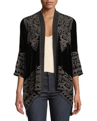 Johnny Was - Hirsch Embroidered Velvet Draped Cardigan - Lyst