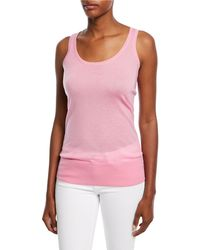 34824175c7104 Lyst - Michael Kors Featherweight Cashmere Tank in Natural