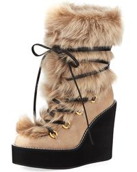 Stuart Weitzman - Nikita Mid-calf Fur Wedge Boots - Lyst