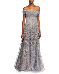 Rene Ruiz - Off-the-shoulder Embellished Tulle Evening Gown - Lyst