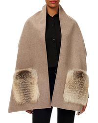 Gorski - Wool Stole W/ Fur Patch Pockets - Lyst